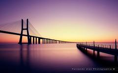 Bridge Vasco da Gama (Fernando 75) Tags: pont bridge colors pastel lee filter river lisboa portugal leebigstopper lisbon sunrise reflexion longexposure architecture landscape travel europe nikon