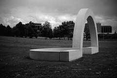 Gateway (Wirdlig) Tags: angelodibenedetto burnspark denver colorado sculpture sculptures 3d art photography abstract eclectic arch archway gate gateway park field bw blackandwhite statue architecture circle