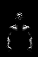man in darkness (cherlatus) Tags: camera shadow portrait people blackandwhite white man black male men guy halloween beautiful beauty face silhouette mystery danger dark person photo gangster athletic scary healthy model power exercise action muscle muscular background fear bad young evil bodybuilding criminal angry mysterious horror devil hood strong bodybuilder athlete workout fitness sporting gym powerful execute sportsman physical assassin dumbbells hooded musculature demonsport