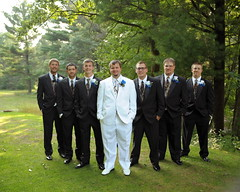 The groom and groomsmen (Becka_C) Tags: wedding color cute forest fun interesting woods different groomsmen theguys informal vformation groominallwhite