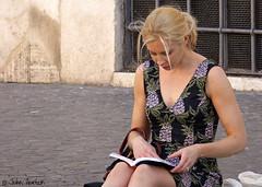 Having a good read (Row 17) Tags: italy italia city rome urban people woman women female europe blonde candid portrait lumix panasonic streetlife streetscene streetfashion