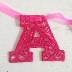 Lace letters (www.emma-bunting.co.uk) Tags: birthday wedding party baby children cards design pretty interiors mr lace decoration garland gift gif mrs bunting pennant