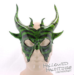 Satyr Mask (HallowedHauntings) Tags: black art halloween leather wow costume dragon mask cosplay etsy satyr larp thrones accessory