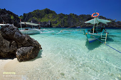 Boat and Rock (engrjpleo) Tags: travel sea seascape beach water rock landscape coast boat seaside sand outdoor philippines shore elnido palawan waterscape shimizuisland