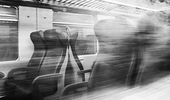 fast and green (robra shotography []O]) Tags: bw reflection speed train interior empty fast bn treno velocit riflesso