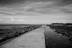 The Weathered Path (JamieHaugh) Tags: sky blackandwhite cloud seascape water monochrome landscape outdoors coast blackwhite seaside rocks mud outdoor path shore clevedon northsomerset bristolchannel