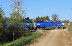 Cooked Lake Road (GLC 392) Tags: road railroad lake mi train evening michigan great central lakes railway late crooked glc 390 395 392 howell emd gp382 398 gp35 ostn