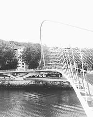 Bilbao (mrjcrr) Tags: city bridge blackandwhite water landscape spain eau riviere ciudad roadtrip bilbao espana pont paysage espagne vue ville