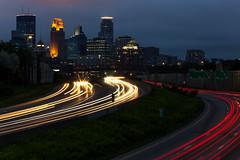 Memorial Weekend (maju0701) Tags: blue red white car skyline evening highway memorial weekend minneapolis fast busy streaks