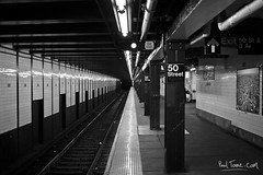 50th Street Subway (Paal Tonne) Tags: new york nyc bw usa white black art public monochrome subway photography design photo metro fine transportation transit mta monuments tonne paal paaltonnecom