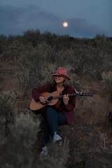 Ruth Serenades Us Under a Coyote Moon (Garret Veley) Tags: moon washington guitar dusk wa ruth serenade sagebrush ancientlake canon70200mm canon5dmk2 topazdenoise garretveley topazclarity