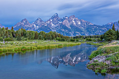 Tetons Blue Hour (ryotnlpm) Tags: longexposure reflection landscape nationalpark bluehour wyoming np grandtetons teton tetons nationalparks schwabacherslanding