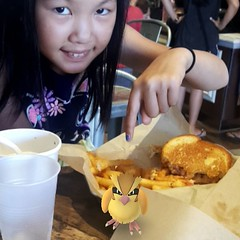 The Pidgey was after Sally's lunch, but I captured him!
