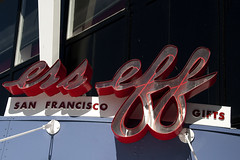 San Francisco - Ess Eff Logo (Drriss & Marrionn) Tags: sanfrancisco california city travel blue red sky usa white sign ferry writing neon cityscape waterfront outdoor text bluesky gifts fishermanswharf signboard neonlight