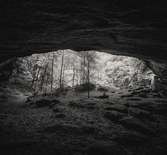 Lower Falls at Old Man's Cave (MightyBoyBrian) Tags: blackandwhite panorama pano handheld hdr lowerfalls hockinghills ohiostate oldmanscave bracketed ohiostatepark hdrpanorama bracketedimage