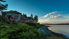 Sunset at Painter's Lodge, Campbell River, Vancouver Island, British Columbia (RussellK2013) Tags: painterslodge landscape scenicsnotjustlandscapes scene scenery scape scenic water ocean sea canada britishcolumbia sunset dusk twilight vacation tourism hotel postcard cloud clouds campbellriver vancouverisland nikon nikkor 1635mmf4vr wideangle uwa ultrawideangle