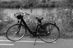 Postcard From Waterland, North Holland (elhawk) Tags: holland netherlands northholland waterland bike bicycle bw