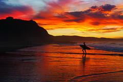 surfer at sunset in Sopelana beach (lisame0511) Tags: surfer sunset shore beach man silhouette red surfboard summer surf surfing rider shoreline dusk sky board evening sopelana sopela vizcaya bizkaia paisvasco euskadi basquecountry euskalherria spain sea