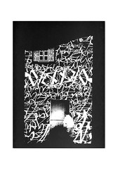 Noises of Vertical Disaster (Markos Zouridakis) Tags: urban white black building collage ink poster artwork screenprint greg hand map glue letters athens brush greece silkscreen calligraphy noise papagrigoriou markoszouridakis synergastirion