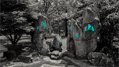 glowing stones (goehler.mike) Tags: bw berlin blackwhite colorkey colorkeying