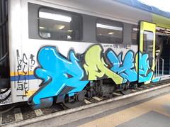 nessuna me la da!!! (en-ri) Tags: verde gelo train writing torino graffiti 15 crew click azzurro nero 2015 rayoz