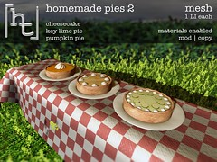 [ht:home] homemade pies 2 (Corvus Szpiegel) Tags: life wood food usa home apple cake metal fruit cheese america menu pie pumpkin table this us key picnic outdoor north cheesecake sl blueberry secondlife hate pastry second raspberry lime cloth ht multicultural