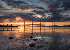Mud, Glorious Mud! (roseysnapper) Tags: bridge sunset sky cloud reflection water river landscape scotland construction edinburgh mud outdoor peaceful serene suspensionbridge tranquil firthofforth southqueensferry forthbridges nikond810 nikkor1424f28 forthcrossing