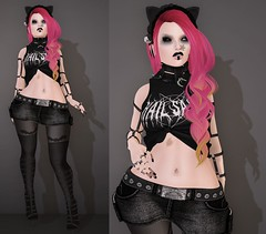 Post #1712 ( =^^=) Tags: pink orange black hail cat hair shoes punk mesh bell body head lace top nail emo goth makeup skirt piercing ombre ring diamond secondlife pentagram bow ear satan bracelet spike stocking collar hud pentacle hex frill applier sashakittehwildrose
