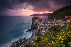 Before the Storm (albert dros) Tags: travel flowers sunset italy storm water landscapes town village cinqueterre albertdros vernazzan