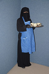 Fat Belly (Buses,Trains and Fetish) Tags: girl fat hijab belly waitress niqab slave burka chador