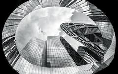 L'oeil de la Dfense (Thierry Hudsyn) Tags: urban paris architecture reflections fisheye zenitar16mm reflets ladfense urbanlandscape urbain canon6d