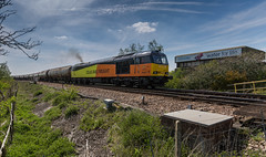Colas Class 60 no 60047 at Newark Flat Crossing on 05-05-2016 with the Rectory to Lindsey discharged tanks (kevaruka) Tags: blue red england orange cloud sun colour sunshine yellow clouds composition train canon outdoors photography spring flickr colours afternoon outdoor stock may rail railway sunny trains 5d locomotive newark frontpage britishrail nottinghamshire sunnyday 2016 colas networkrail 60047 canonef1635f28mk2 canon5dmk3 5dmk3 canonef100400f4556l 5d3 5diii canoneos5dmk3 newarkdiamondcrossing newarkflatcrossing ilobsterit 05052016