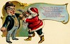 Santa Says Hand It Over (Alan Mays) Tags: ephemera postcards greetingcards greetings cards christmascards paper printed christmas xmas december25 holidays santaclaus santa men beards hats holdups robbers robberies crimes criminals guns gunpoint handsup humor humorous funny comic strange unusual illustrations borders scrolls scrollwork curves poetry poems rhymes red green blue gold antique old vintage typefaces type typography fonts santaclausseriesno1 postcardseries