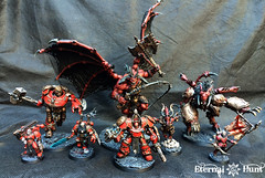 Models painted for the ETL V event (KrautScientist) Tags: 40k 4thassaultcompany warhammer40k worldeaters conversion chaos chaosspacemarines csm kitbash c obliterator thamier bloodthirster daemon daemonprince herald skulltaker apothecary khorne khornes eternal hunt