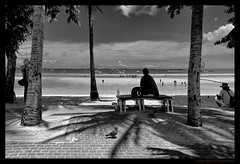 Looking out to sea (FimRay) Tags: blackandwhite bw monotone monochrome traditionalstreet street beach ocean sea people shadow shadows thailand thai asia seasia silhouette silhouettes