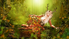 DIVINE (meriluu17) Tags: faun elf boudoir leaves nature divine antlers outdoor people dof fall wood wooden green ligh lights forest owl mushrooms girl magical fantasy surreal magic dream serene goddess