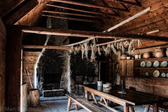 Sainte-Marie among the Hurons community hall (mbrousseau) Tags: saintemarieamongthehurons museum ontario hearth fire chimney herbs table china