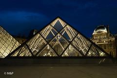 Blues in Paris (MNP[FR]) Tags: sky city blue night light pyramid clouds europe architecture paris france long exposure museum louvre samsung pyramide ville hour nuit pose longue muse du heure bleue iledefrance lumires nx1