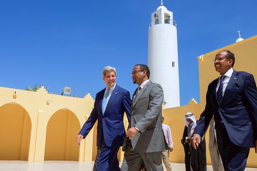 Secretary Kerry and Djiboutian Ministers Aden and Youssouf Exit the Salman Mosque in Djibouti