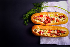 Sausage, tomato and cheese bread boats (manyakotic) Tags: cheese breakfast tomato bread boat view top background sausage ham meat snack pastry brunch appetizer melted savory baked roasted