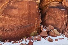 Maze Petroglyph Panel (photosisee) Tags: arizona snow nature landscape utah rocks petroglyphs coyottebuttes notch varnish pictographs 2015 puebloan 2470 5ds vermillioncliffsnationalmonument canon5dsr