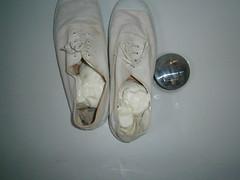 Vintage Intershu plimsolls get gunged (eurimcoplimsoll) Tags: shoes sneakers trainers canvas messy gym gunge plimsolls plimsoles