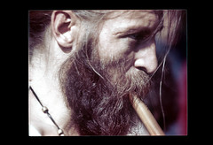 ss23-74 (ndpa / s. lundeen, archivist) Tags: portrait people man color film face boston beard massachusetts nick slide facialhair slideshow mass 1970s recorder musicalinstrument bostonians bostonian dewolf early1970s nickdewolf photographbynickdewolf playingtherecorder slideshow23