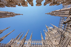 Duomo, Milan (Stan de Haas Photography) Tags: old city travel blue roof sky urban italy sculpture white milan detail building tower art history tourism church monument statue skyline architecture landscape high italian europe gallery european catholic cityscape view place cathedral outdoor top background milano religion gothic decoration landmark aerial dome marble duomo lombardia pinnacle lombardy standehaas