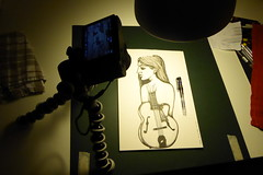 Sketch 004 (Sellanes Sketch Journal) Tags: sketch dibujo drawing doodle girl guitar ink inkart artwork sellanes recording camera panasonic pen