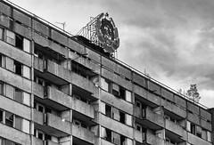 Hammer and Sickle (franconiangirl) Tags: hammerundsichel hammerandsickle cccp ussr abandoned building apartmentblock pripyat ukraine  chernobylexclusionzone chernobyl tschornobyl sperrzone tschernobyl pripjat prypjat blackandwhite monochrom  monochrome sovietunion sowjetunion ironcurtain easterneurope eisernervorhang oblastkiew