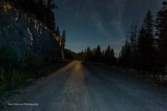 Moonlit Road (Glen Eldstrom) Tags: stars moonlight night nightphotography bigwhite kelowna okanagan britishcolumbia canada gravelroad landscapelovers lanscape rockcliff longexposure