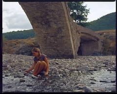 Under The Old Bridge (skumata) Tags: bronica gs1 expired film analogue 120 6x7 bulgaria girl romantic melancholia kodak ektachrome slide blonde portrait nenkovo rhodopes