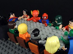 Wrong Meeting (MrKjito) Tags: lego minifig marvel dc comics comic cross over justice leauge avengers spider man wrong meeting table angry super hero get up