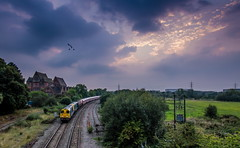 Swanning Off (Terry 47401) Tags: 20096 20107 sstock train railway whitacre 1147 old dalby west ruislip tube stock sunset swans 7x09